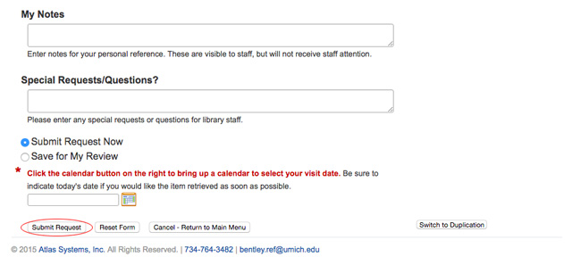Submit request screen in Bentley research account