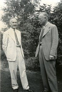 Fajans (left) and LSA Dean Edward Kraus (right) at Kraus's Ann Arbor home.