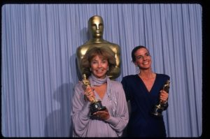 "049944 03: Documentarians Pamela Conn and Sue Marx hold their Best Documentary, Short Subjects Oscars for ""Young at Heart"" at the Academy Awards April 11, 1988 in Los Angeles, CA. The Academy Awards are prizes given out annually in Hollywood for excellence in film performance and production. (Photo by John Barr/Liaison)"