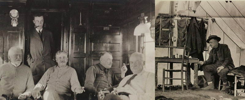 "Left: W.B. Mershon and companions aboard a private rail car during one of their many hunting and fishing trips. Family and camping snapshots., 1907-1919 [Box 47, Folder 19]. Right: W.B. Mershon ""roughing it"" during a camping trip. Family and camping snapshots, 1907-1919. [Box 47, Folder 19]."