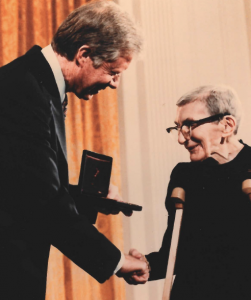 Elizabeth Crosby receives the National Medal of Science from President Jimmy Carter in 1980.