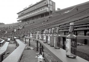 Bottles litter Michigan Stadium in 1969. Photo by Robert Kalmbach, BL018892.
