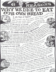 Words upon words! This bread packaging tells customers about how Zingerman's bread is made, the ingredients used, and how it should taste.