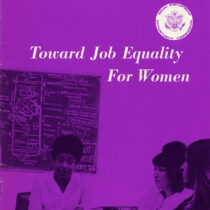 Flyer cover with title Toward Job Equality for Women