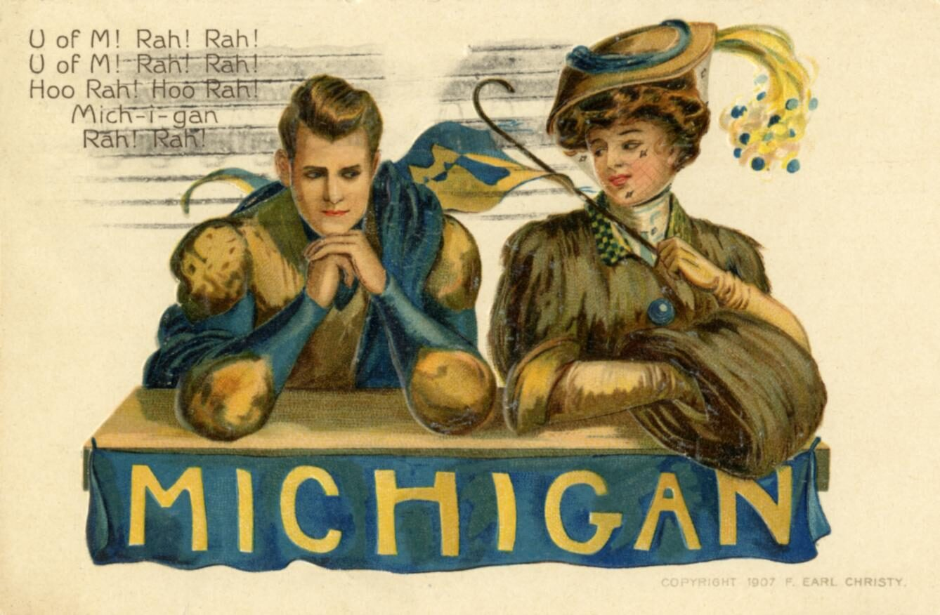 Color illustration of UM football player and woman holding a UM flag, about 1907.