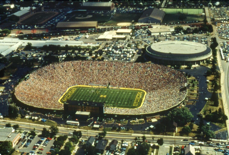 Aerial photo of Michigan Stadium, 1970s.