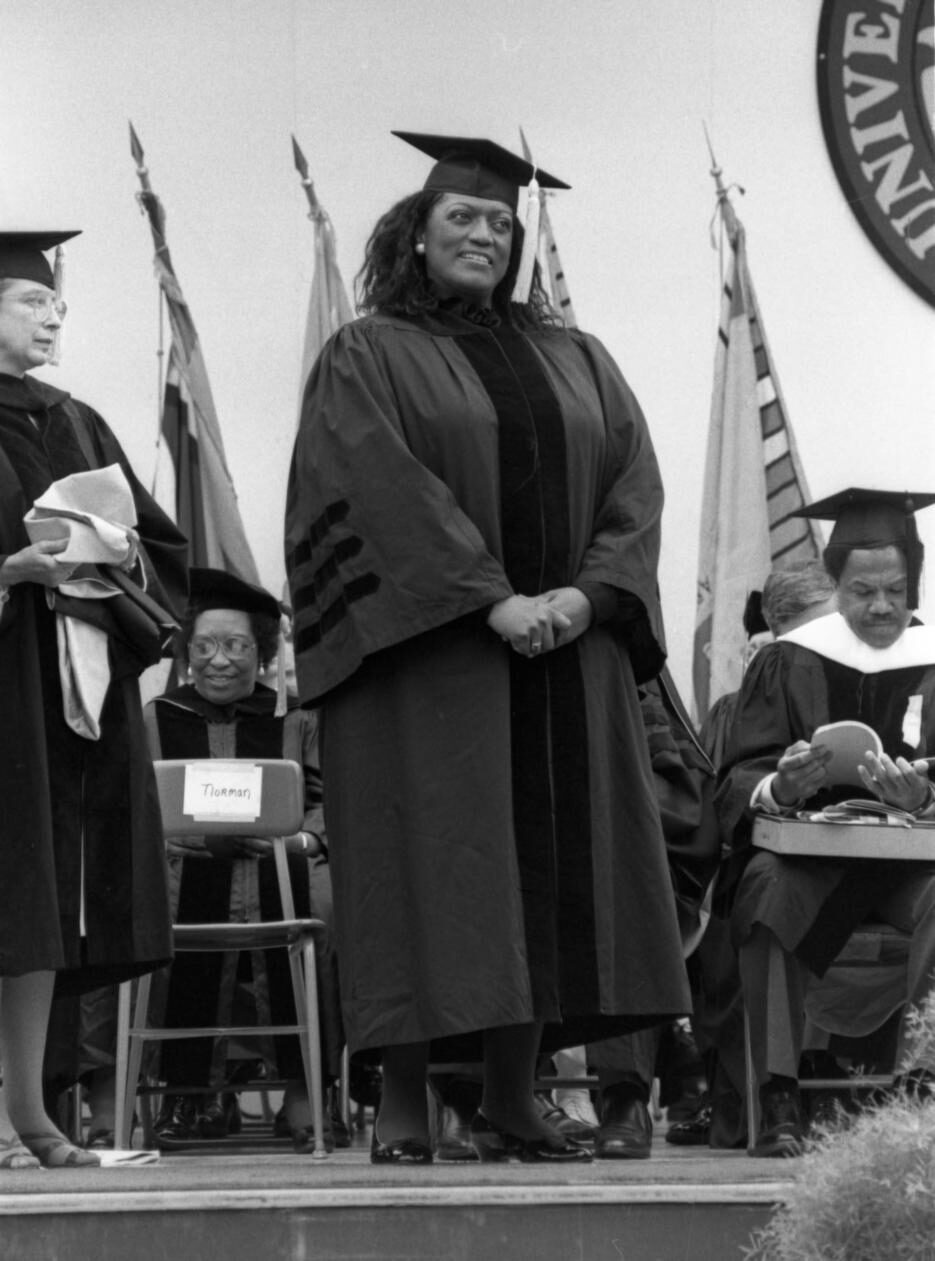 Jessye Norman receiving honorary degree, Spring 1987.