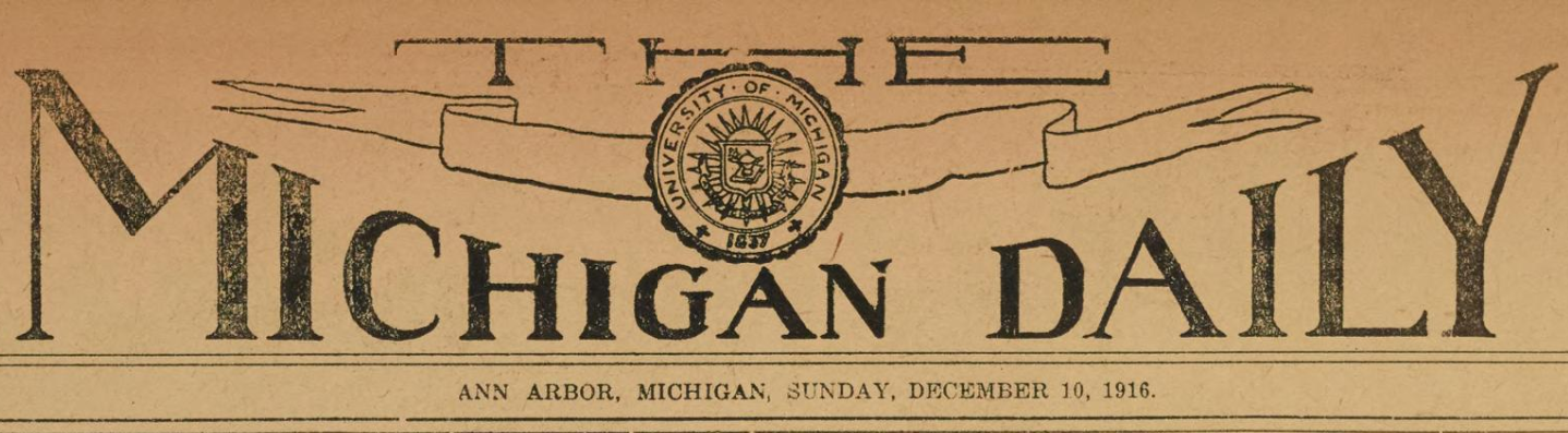 Michigan Daily masthead from December 1916.