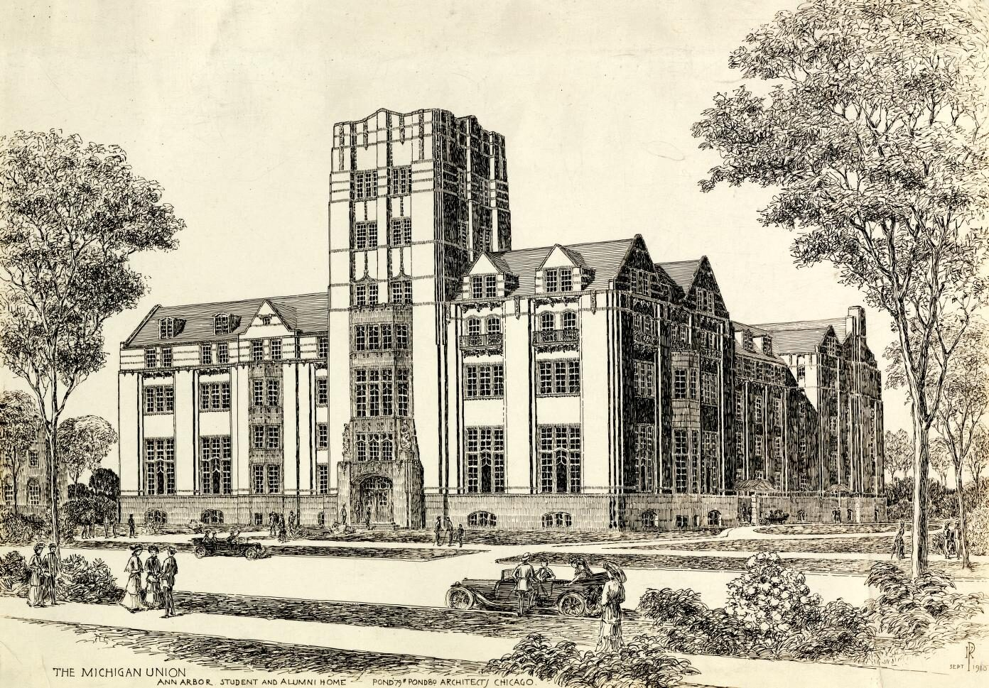 Drawing of Michigan Union building.